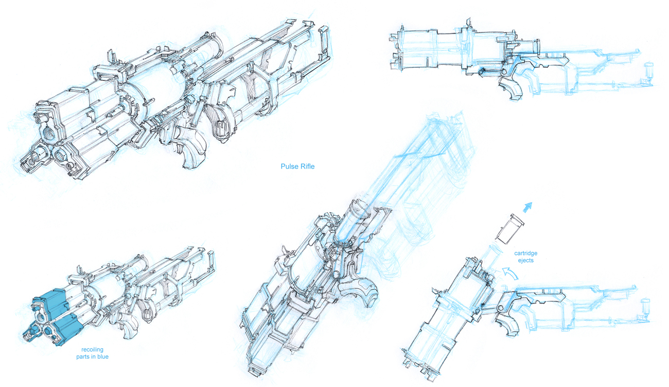 Dead space 2 sws motorized pulse rifle blueprint project hydra dead space pulserifleconceptg malvernweather Image collections