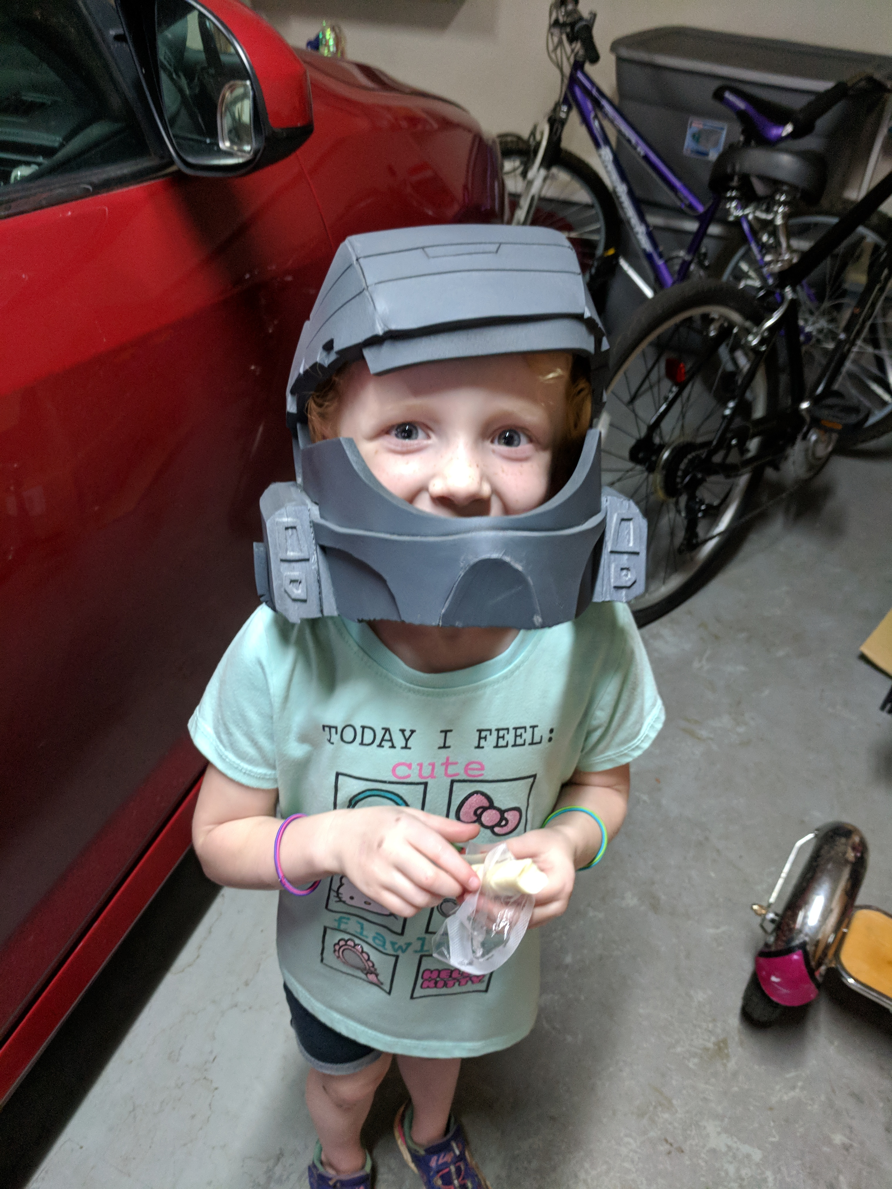 Kid in first helmet